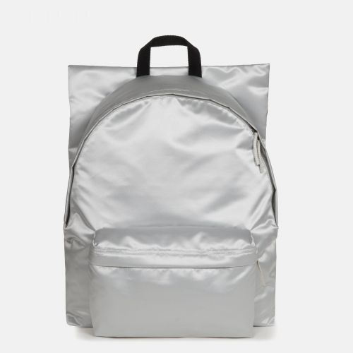 Raf Simons Poster Padded Satin Punk Silver Backpacks by Eastpak - Front view