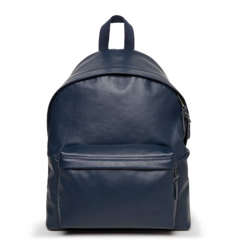 Padded Pak'R Navy Leather Backpacks by Eastpak - Front view