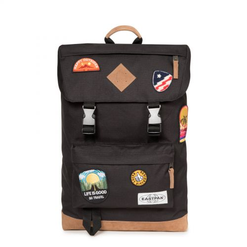 Rowlo Into Patch Black Backpacks by Eastpak - Front view