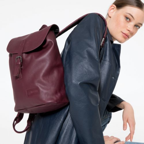 Casyl Wine Leather Backpacks by Eastpak - Front view