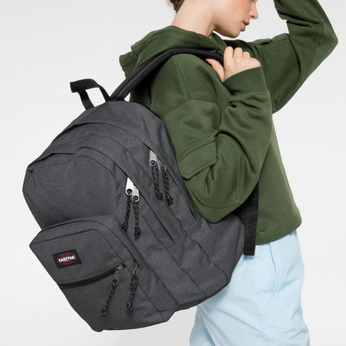 Pinnacle L Black Denim Backpacks by Eastpak - Front view