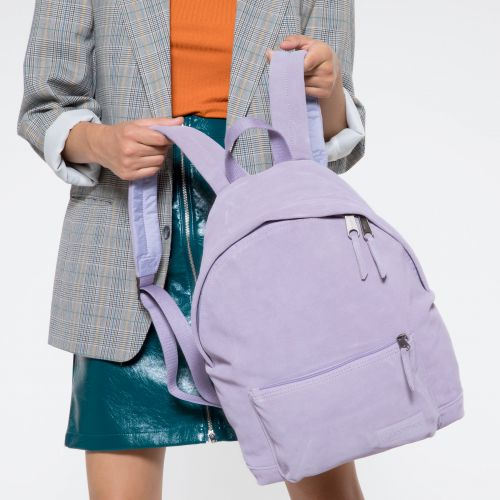 Padded Sleek'r Suede Lilac Backpacks by Eastpak - Front view