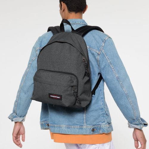Padded Travell'r Black Denim Backpacks by Eastpak - Front view