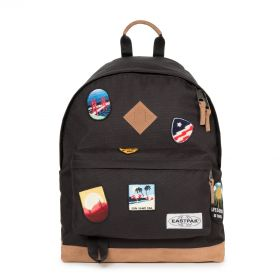 Wyoming Into Patch Black Backpacks by Eastpak - Front view