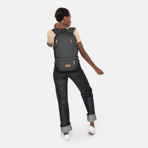 Floid Black Denim Backpacks by Eastpak - Front view