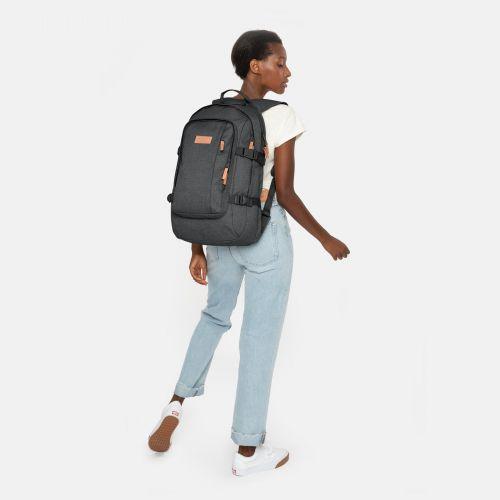Evanz Black Denim Backpacks by Eastpak - Front view