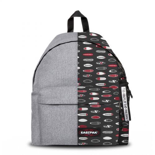 Re-built: Recycled Padded Pak'r®Sunday Grey/Surf Grid Backpacks by Eastpak - view 1