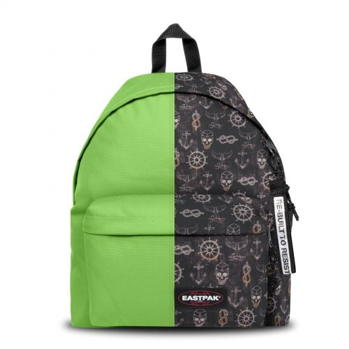 Re-built: Recycled Padded Pak'r®Lime Green/Pirate Ship Print Backpacks by Eastpak - view 1