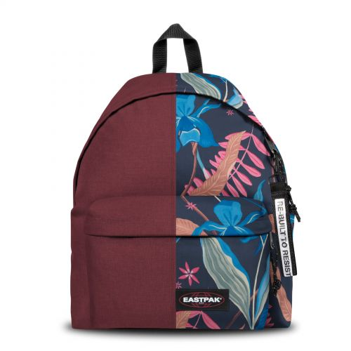 Re-built: Recycled Padded Pak'r® Crafty Wine/Tropic Flower Backpacks by Eastpak - view 1