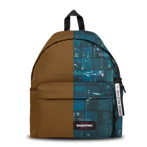 Re-built: Recycled Padded Pak'r® Light Brown/Blue City Print Backpacks by Eastpak - view 1