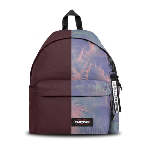 Re-built: Recycled Padded Pak'r® Burgundy/Palm trees Print Backpacks by Eastpak - view 1