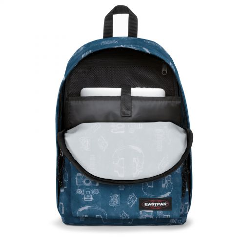 Out Of Office Patent Blue Backpacks by Eastpak