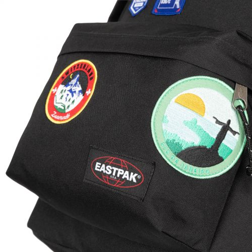 Out Of Office Patched Black Backpacks by Eastpak