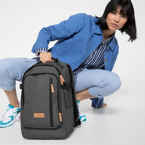 Smallker Black Denim Backpacks by Eastpak - Front view